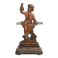 """Victorian English iron umbrella stand with the word """"Industry"""" on the bottom"""
