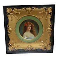 Kemper-Thomas Co, Cincinnati, Ohio metal art plate dated 1905 in gilt frame