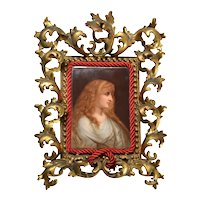 Victorian brass framed painting on porcelain signed by the artist