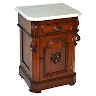 Victorian walnut half commode with carved leaf pull and cut corner original white marble