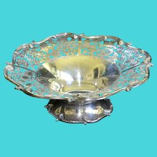 Large sterling silver bowl with strawberries, grapes, leaves and pomegranates