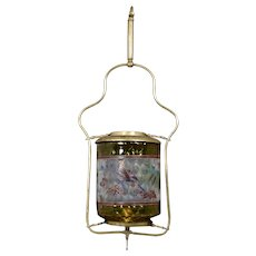 Hanging gas Victorian hall lamp with bird painted shade and brass frame
