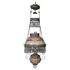 Hanging Victorian country store oil hanging lamp with decorated font and shade and prisms