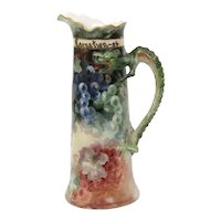 French hand painted Limoges porcelain tankard with serpent or dragon handle