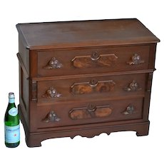 Victorian walnut child's chest with carved pulls