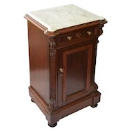 Walnut Victorian half commode or night stand with an inset cookie cut marble