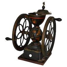 Enterprise Mfg Co Philadelphia Victorian iron coffee grinder with stenciled decoration
