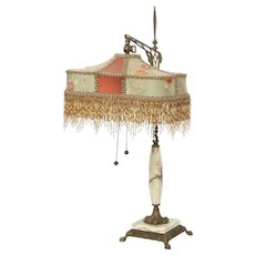 Brass and onyx table lamp with lovely woven fabric shade
