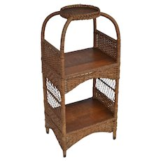 Wicker tiered stand with quartered oak shelves
