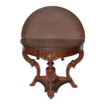 Renaissance Revival walnut Victorian folding card table with drawer in great original finish