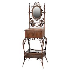 Rare Victorian wicker ladies' dressing stand or vanity made by the Wakefield Rattan Company