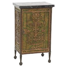 Great standing humidor cabinet made from iron, brass and copper with grill work door