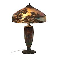 Pittsburgh Company table lamp reverse painted chipped glass shade and painted base