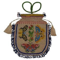 Butterfly Beaded Bag that is a true work of art (possibly Native American)