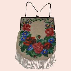 Beaded Bag with elaborate flowers and leaves from top to bottom