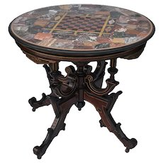 Renaissance Revival walnut Victorian center table with a  pietra dura round marble top