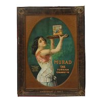 Art Nouveau tin advertising sign for Murad Turkish Cigarettes