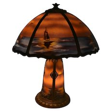 Large Reverse Painted Panel Lamp with Nautical Scene
