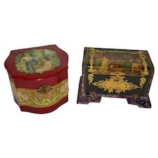 Two Ornate Celluloid Boxes with Lift Tops