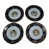 Four Limoges porcelain portrait plates with women