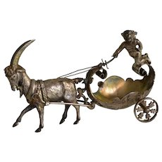 Sterling silver miniature with a ram pulling a cart with cherub