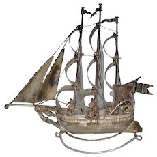 English silver miniature of a sailing ship