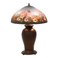 Signed Jefferson reverse painted floral table lamp