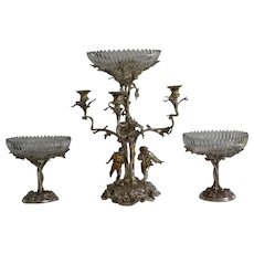 Elkington & Co three piece silverplated centerpiece candelabra/compote set