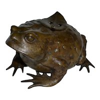 Bronze Toad with Incense Insert on Its Back