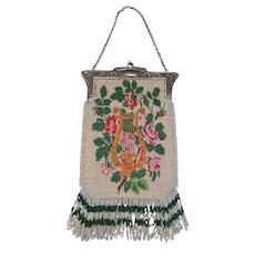 Exquisite Beaded Bag with Greek Lyre Motif