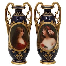 Royal Vienna Victorian matched pair of cobalt blue vases with women.