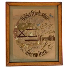 Romantic German needlepoint valentine in faux oak frame