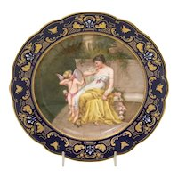 Royal Vienna porcelain plate with woman and cupid