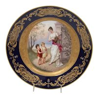 Royal Vienna cabinet plate with woman playing lute for two girls