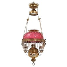 Aesthetic Victorian hanging cranberry hobnail lamp with colored prisms
