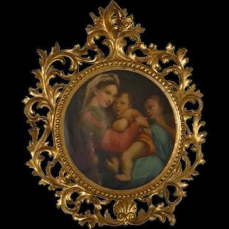 Raphael's Madonna Della Sedia copy painted by Angiolo Valdinoci