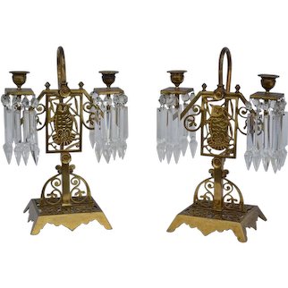 Pair of Aesthetic Victorian brass candelabras with prisms
