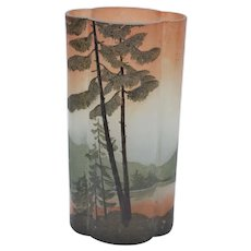 Legras cameo glass vase with trees and a pond