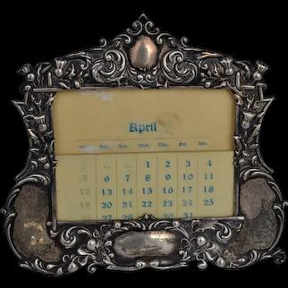 Gorham Victorian sterling silver desk calendar