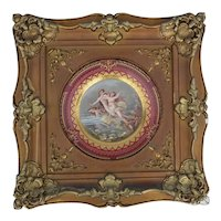 Royal Vienna porcelain Victorian plate with nudes in a bronze toned frame