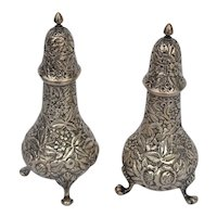 Hennegan Bates & Co sterling silver repousse salt and pepper shakers