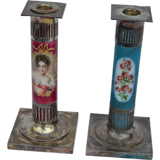 Pair of candlesticks made by the Pairpoint Company