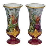 Pair of gorgeous tropical rain forest painted porcelain vases