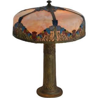 """Panel lamp signed """"PL"""" with lovely trees in metal base"""