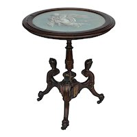 Pottier and Stymus Egyptian Revival Victorian rosewood round tip top tea table