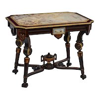 Pottier and Stymus rosewood Victorian center table with inset marble