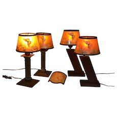 Four Petite Butterfly Lamps with Two Different Bases and one side clip Shade