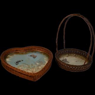 Two Unusual Early Wicker Butterfly Trays
