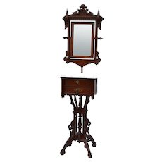 Walnut Eastlake Victorian shaving stand with mirror and marble top