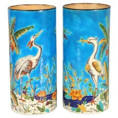 Longwy Egret Vases With Palm Trees, Flowers, Beaches and Water
